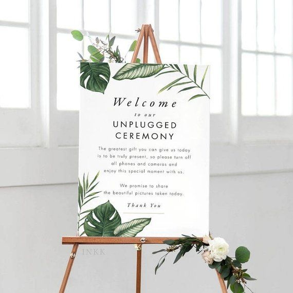 Tropical Unplugged Wedding Sign, Unplugged Ceremony Sign Printable, Unplugged Sign, Unplugged Wedding PDF - (Item code: P1062)