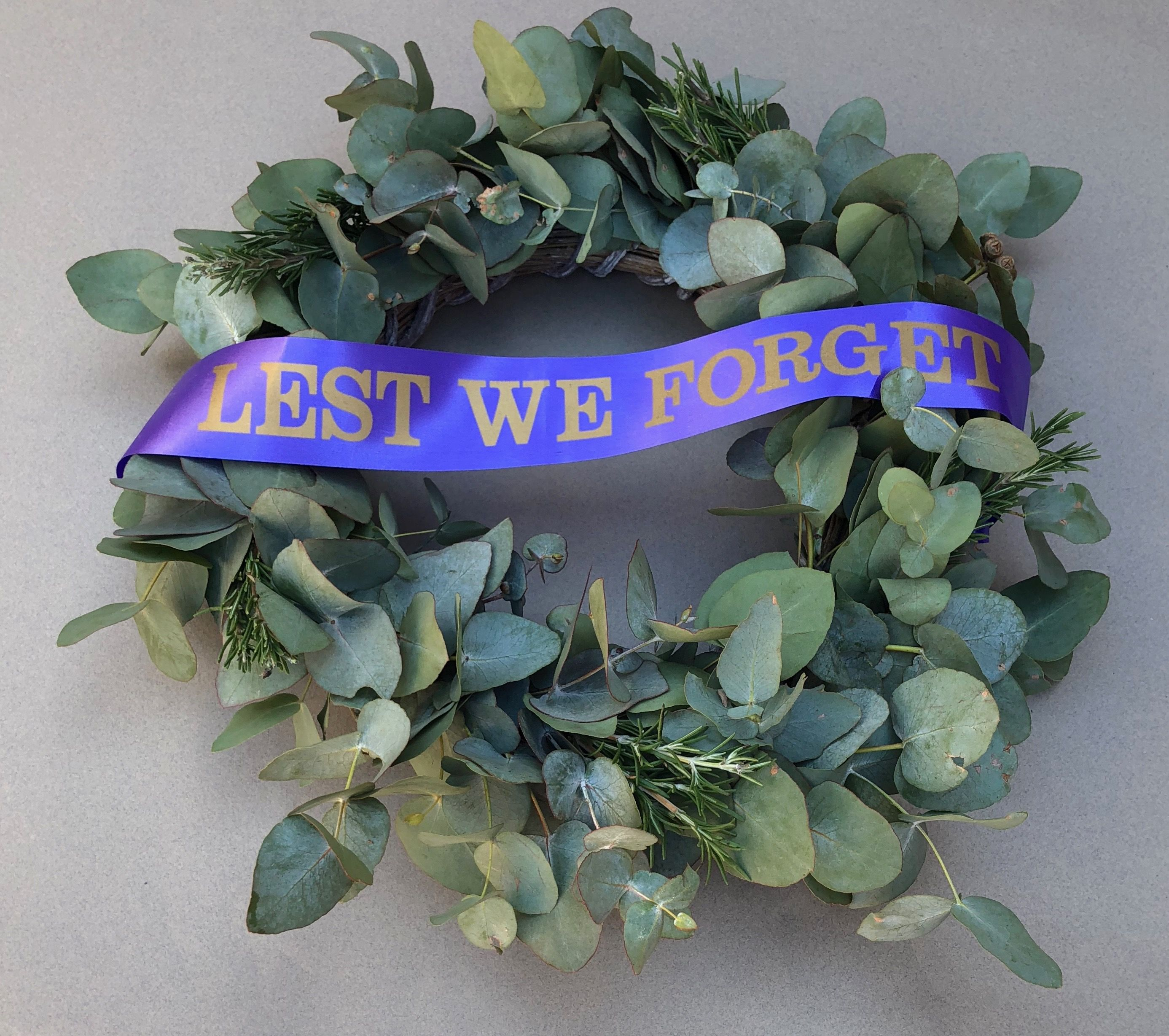 A.N.Z.A.C. Anzac wreath of eucalyptus and Rosemary on a
