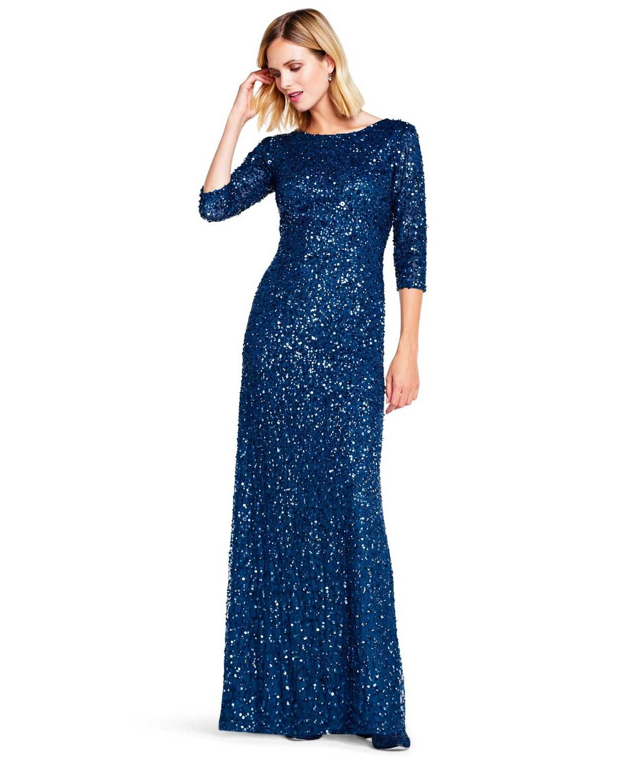 Adrianna Papell Beaded Dress Beaded Evening Gowns Gowns Blue Wedding Guest Dresses [ 1485 x 1200 Pixel ]