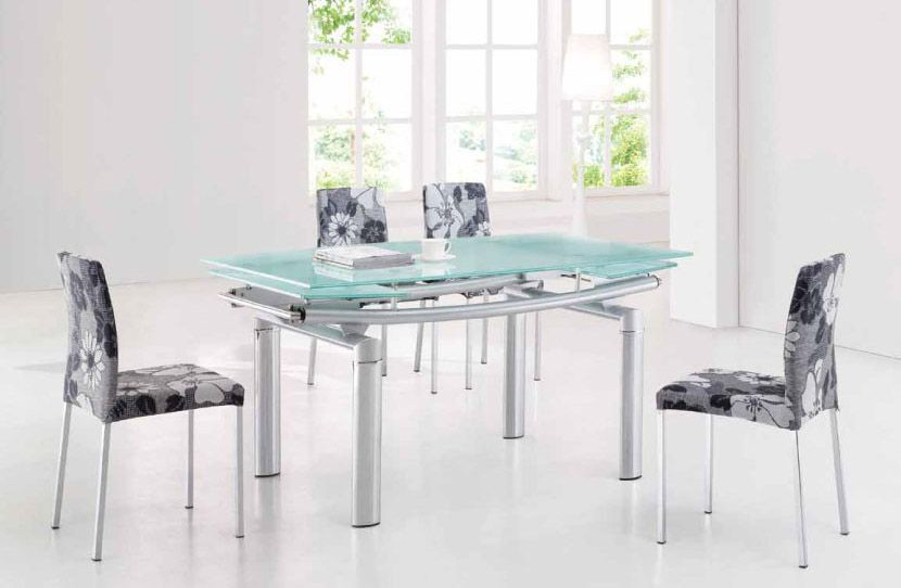 Extendable Frosted Glass Top Fabric Seats Modern Dining Set With Leaf North Las Vegas Nevada ESF365DT4189DC Prime Classic Design Italian