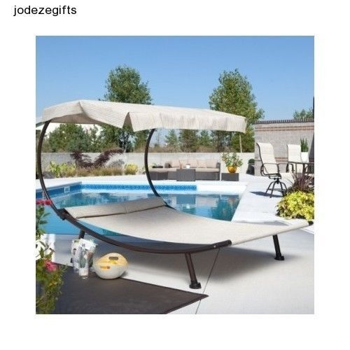 Outdoor patio furniture pool chaise lounge hammock with for 2 person outdoor chaise lounge