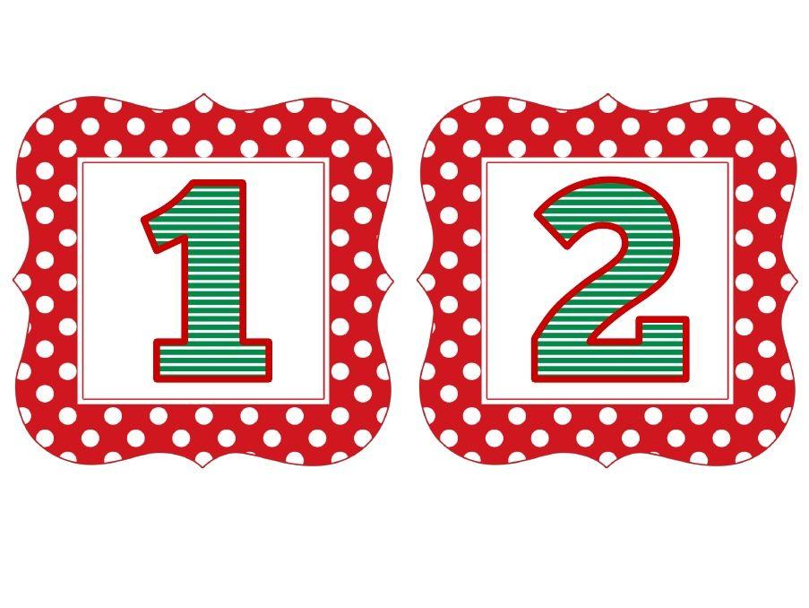 Red Polka Christmas Numbers 1-50