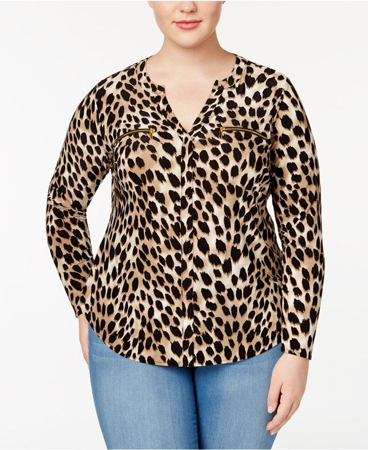 4dc4ab17596c INC International Concepts I.n.c. Plus Size Animal-Print Blouse, Created  for Macy's