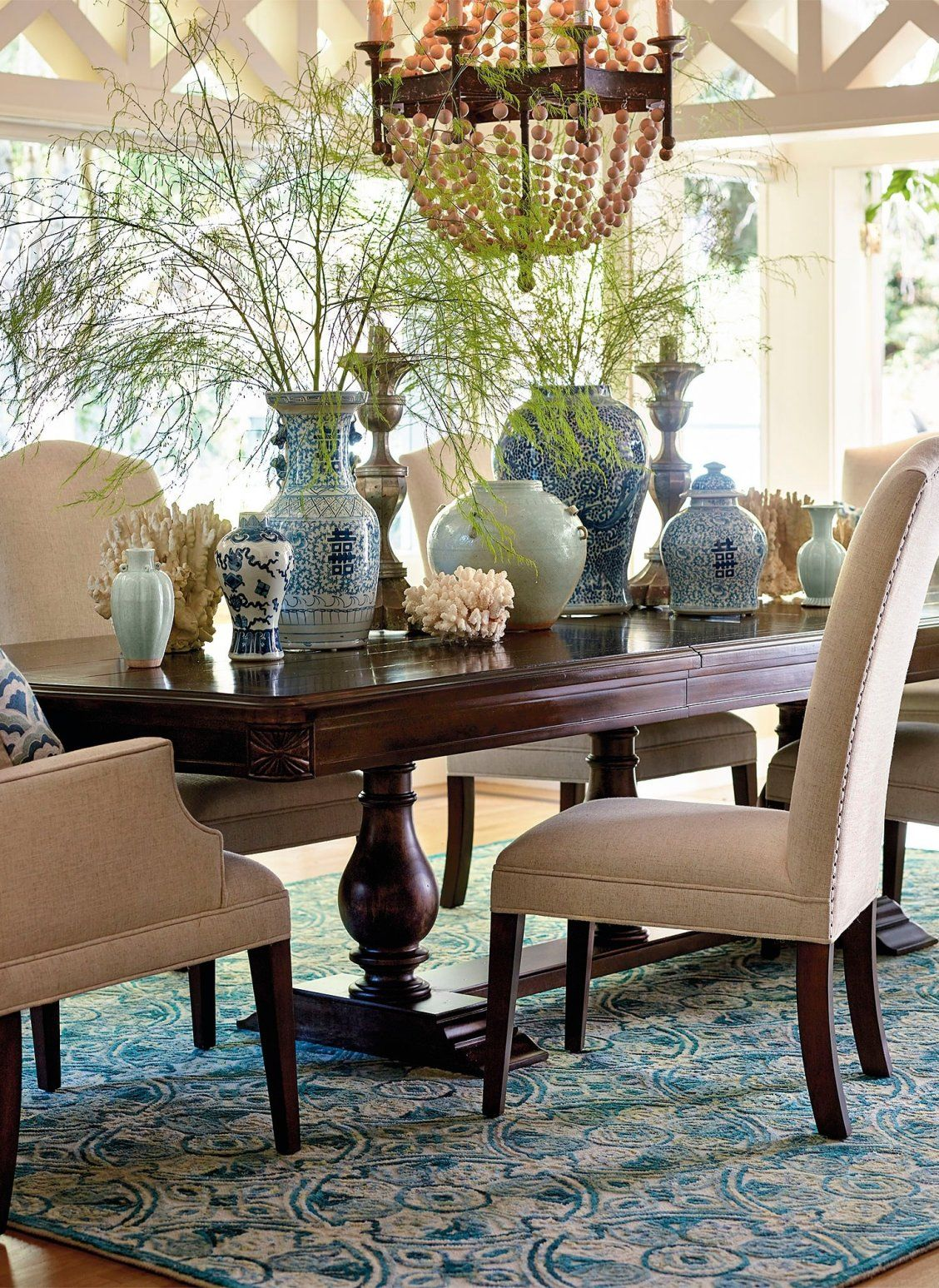 Fit For A Simple Rustic Meal Or A King S Feast The Unique 3 Pillar Tennyson Trestle Table Is Bu Traditional Dining Rooms British Colonial Decor Dining Chairs