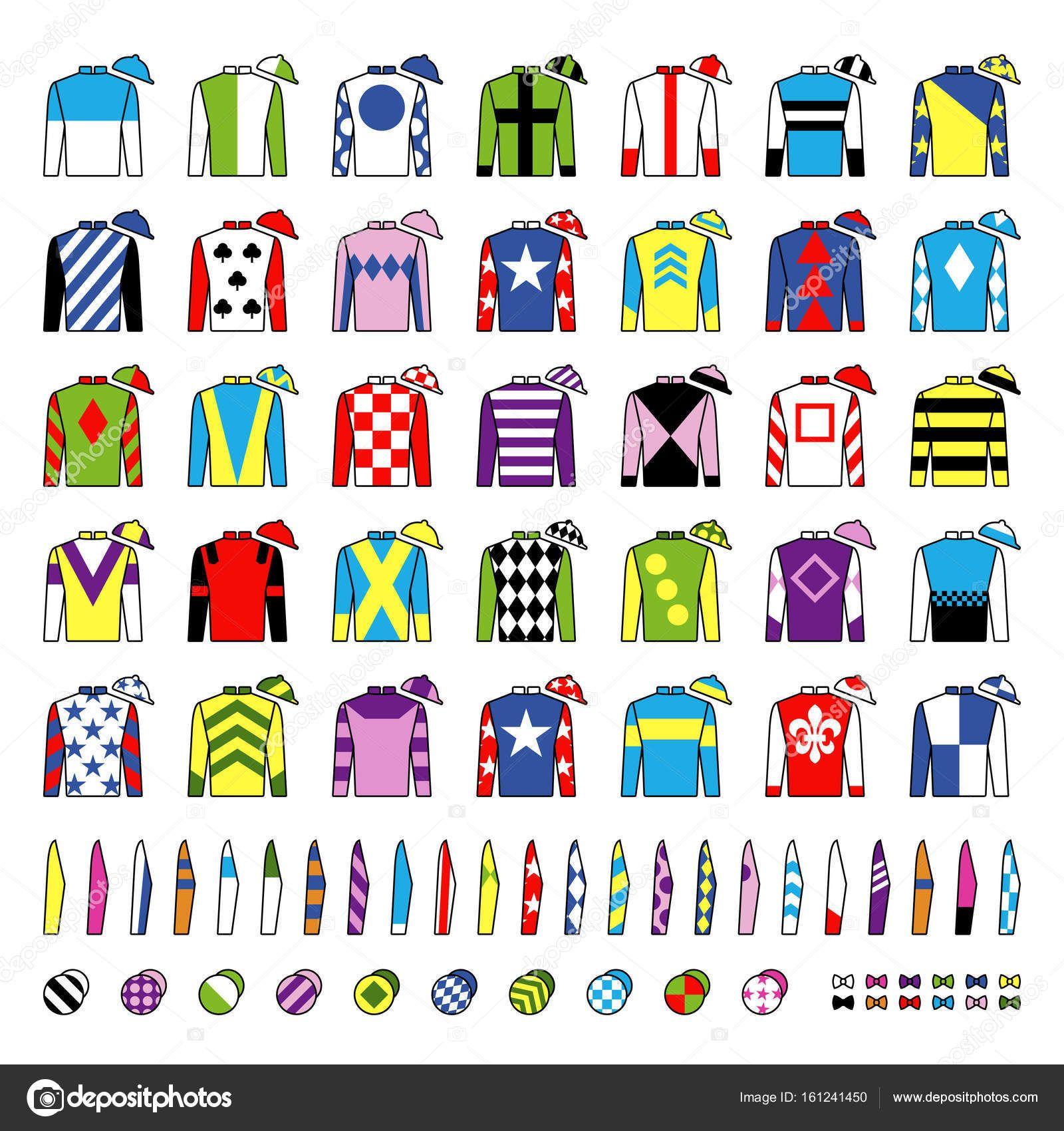 Download Jockey Uniform Traditional Design Jackets Silks Sleeves And Hats Horse Riding Horse Racing Icons Set Isola Jockey Outfit Jockey Horse Racing
