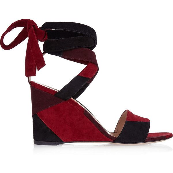 Gianvito Rossi Patchwork suede wedge sandals (£610) ❤ liked on Polyvore