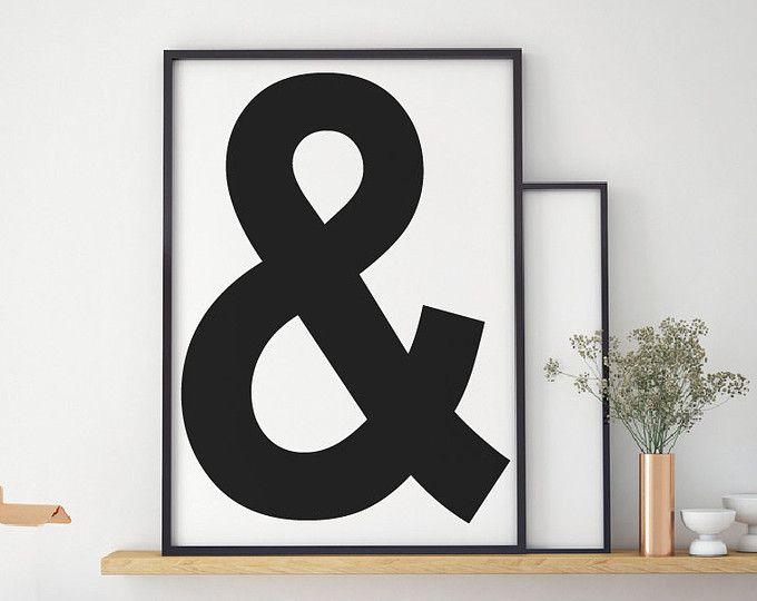 Ampersand cartel, blanco y negro impresión de imprimibles, moderno ...
