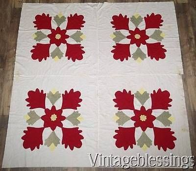 "Early Oak Leaf Tulip Applique QUILT TOP 68"" x 67"""