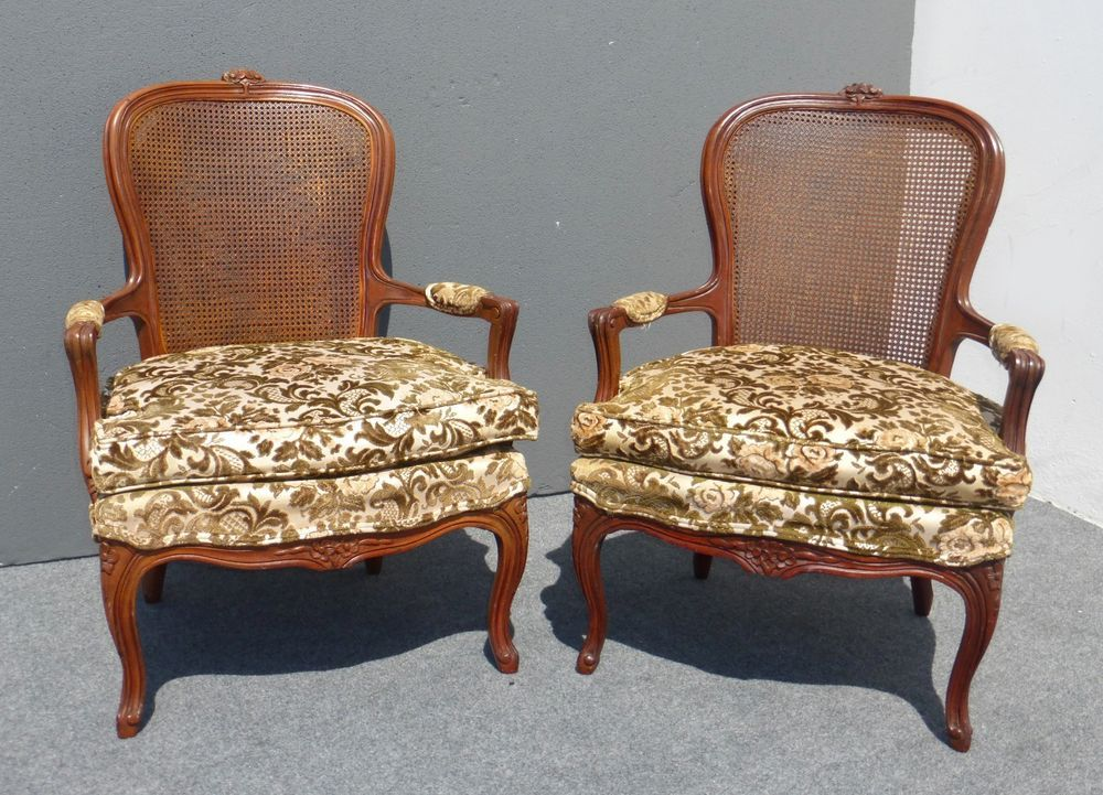 Pair Of Two Vintage French Provincial Caned Back Green Velvet Fl Arm Chairs Frenchcountryprovincial