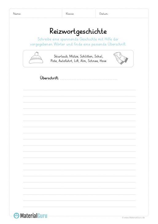 ein kostenloses arbeitsblatt zum thema reizwortgeschichten auf dem die sch ler eine. Black Bedroom Furniture Sets. Home Design Ideas