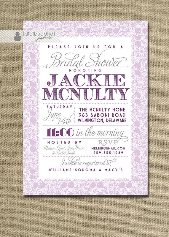 lace bridal shower invitation pastel lavender eggplant purple gray rustic wedding invite printable digital or printed jackie style