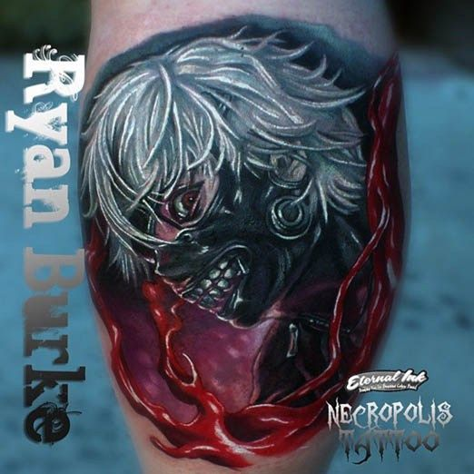 ryan burke impresses with this realistically horrifying tokyo ghoul tattoo inked tattoo. Black Bedroom Furniture Sets. Home Design Ideas
