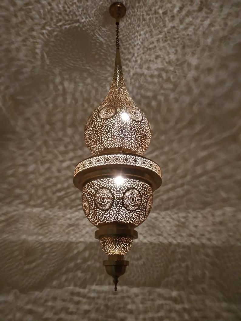 Grande Lampe Marocaine Pendant Light Brass Chandelier Antique