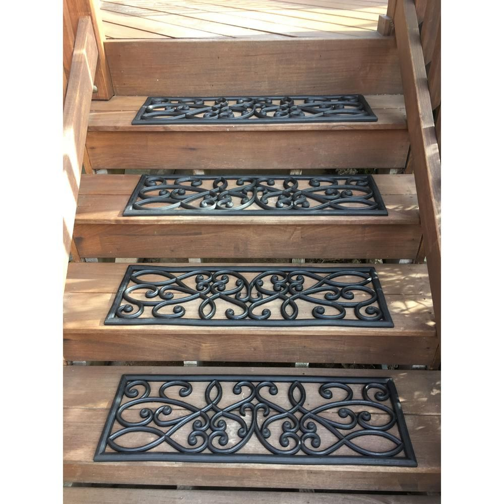 Best Amerihome Black 9 In X 30 In Rubber Scrollwork Stair 400 x 300