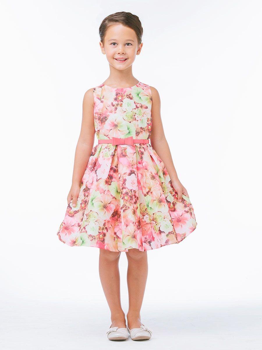 Pink Mixed Modern Flower Dress W Belt