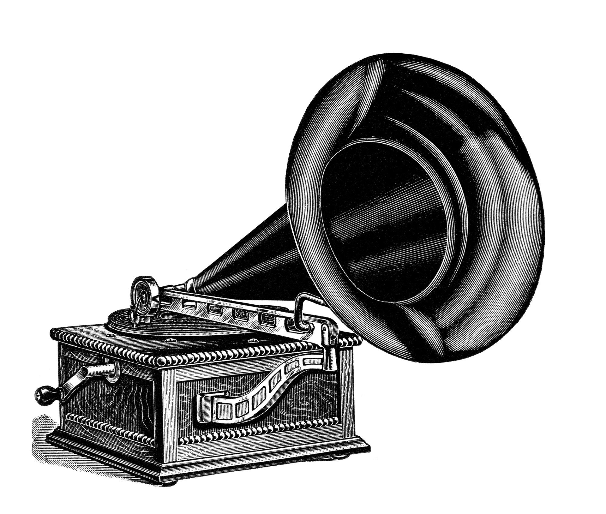 talking machine clip art, vintage gramophone image, black