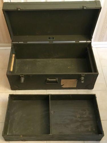 Vintage Military Army Air Force Wood U0026 Metal Footlocker Storage Trunk