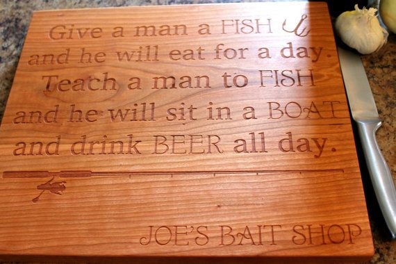 Personalized Cutting board - Fishermans Gift - Dad's Gift - Custom Engraved Gift - Husbands Gift - Anniversary Gift - Fishing Gift -