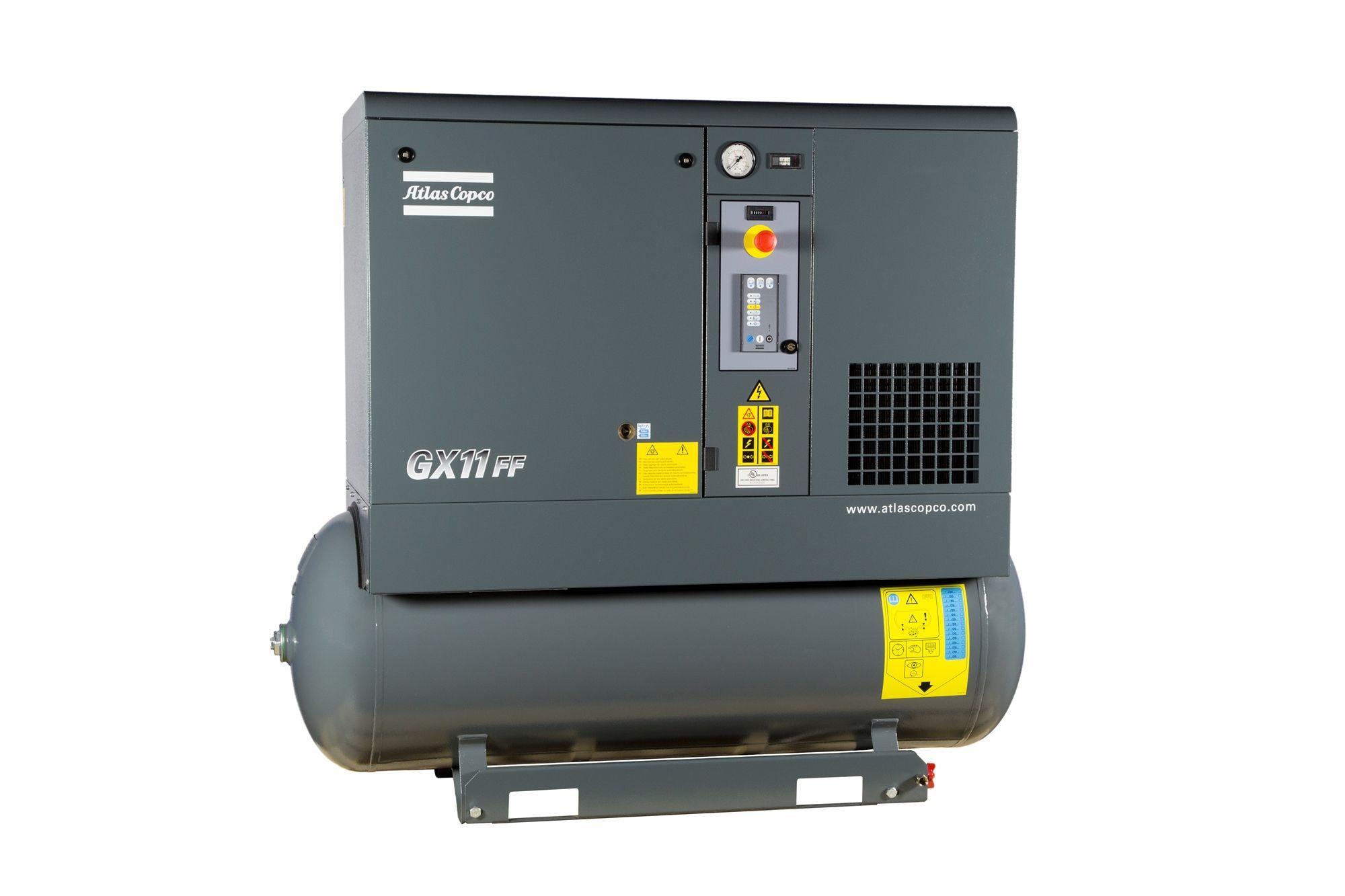 Atlas copco gx11 150t aff 15 hp rotary screw air compressors w dryer