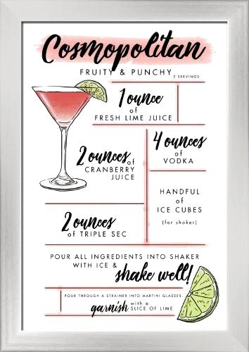 Cosmopolitan Cocktail Recipe Lantern Press Artwork 12x18 Giclee Art Print Gallery Cosmopolitan Cocktail Recipes Cosmopolitan Drink Alcohol Drink Recipes