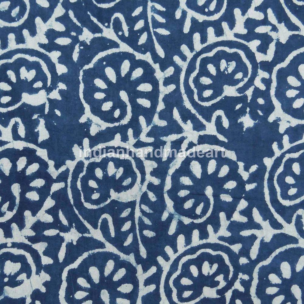 5 Yard Hand Block Print Fabric Indigo Blue Cotton Natural Dye Dabu Indigo Print