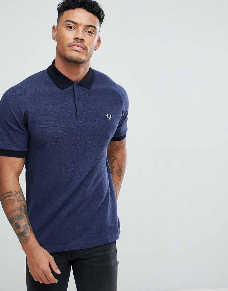 7bc6873366ca FRED PERRY SLIM FIT COLOR BLOCK PIQUE POLO SHIRT IN NAVY - NAVY. #fredperry  #cloth #