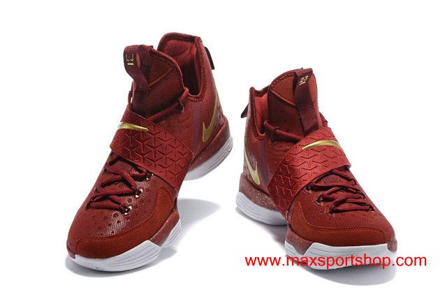 e59543b7239 Nike LeBron 14 The Cavs Wine-red Gold Men s Basketball Shoes