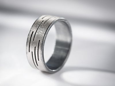 950 Palladium and oxidized silver wedding band by Todd Reed #igorman #toddreed