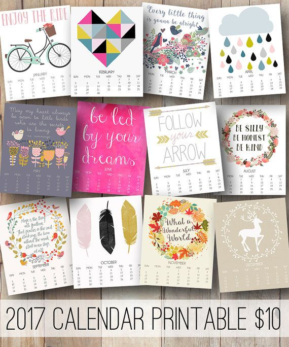 2017 printable calendar 2017 monthly wall by JustPeachyPrintables - printable 2017 calendar