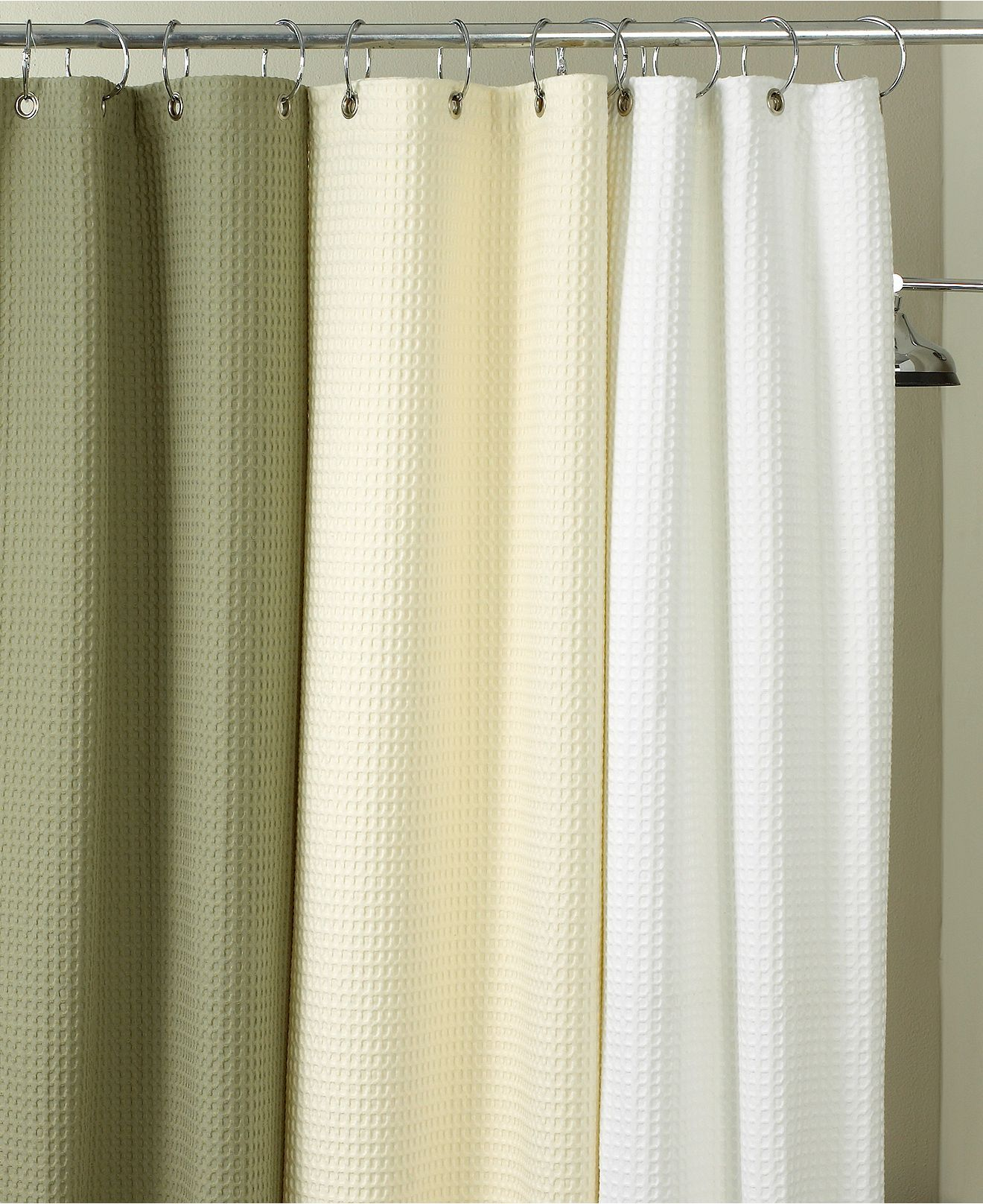 White Waffle Spa Shower Curtain Hotel Collection Shower Curtain