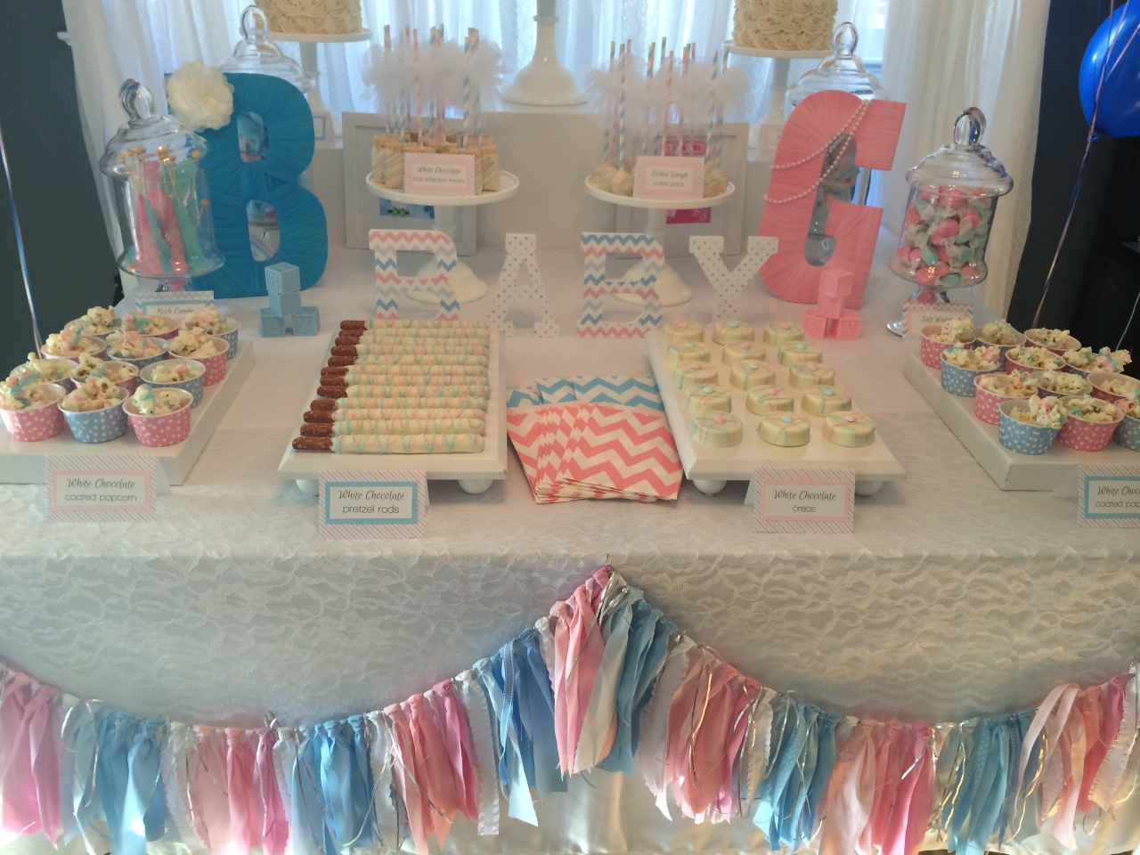 Sweet Simplicity Bakery Gender Reveal Dessert Candy Table In