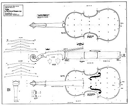 Technical Drawing of Viola by Pietro Giovanni Mantegazza, Milan ...