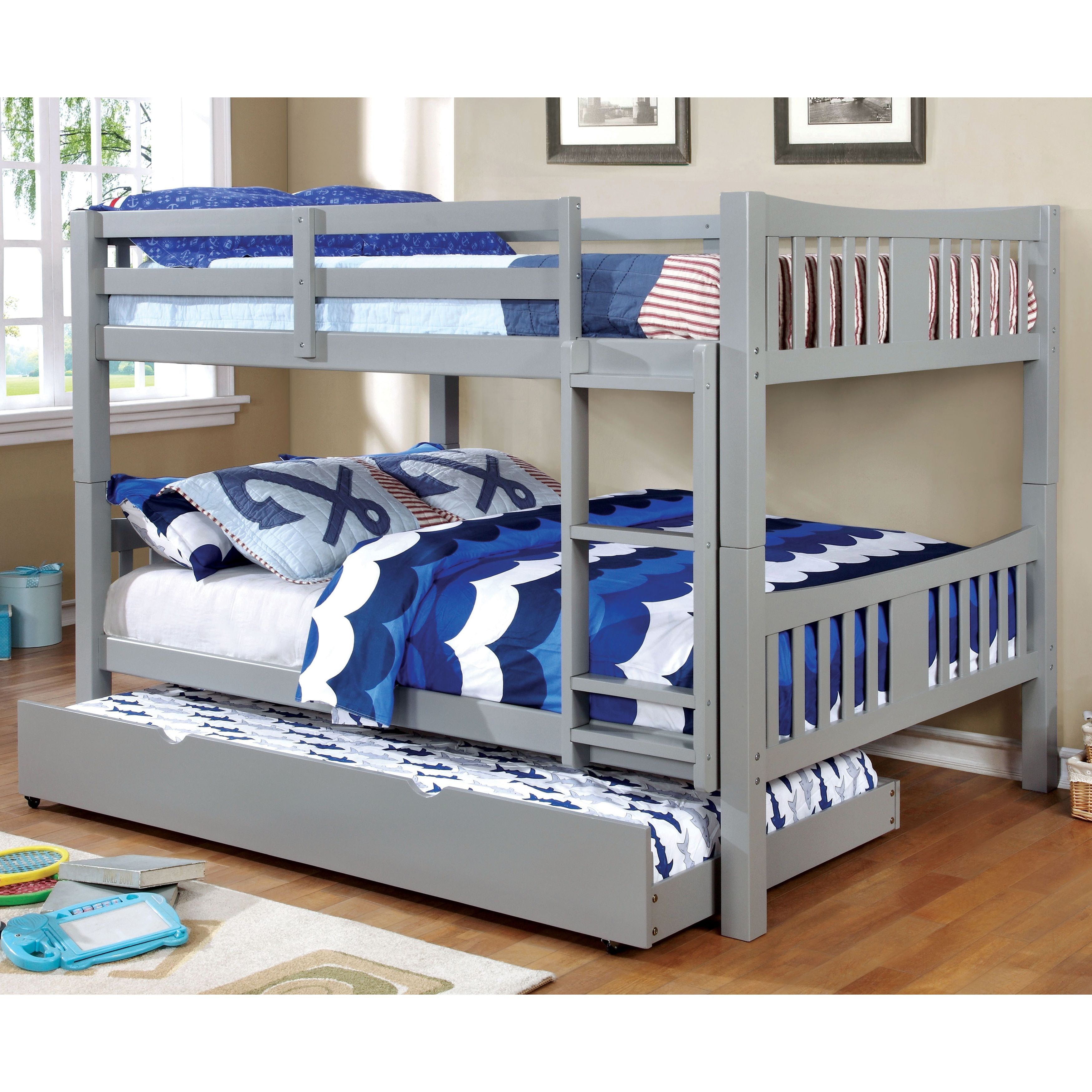 Furniture Of America Pello Full Over Full Slatted Bunk Bed White