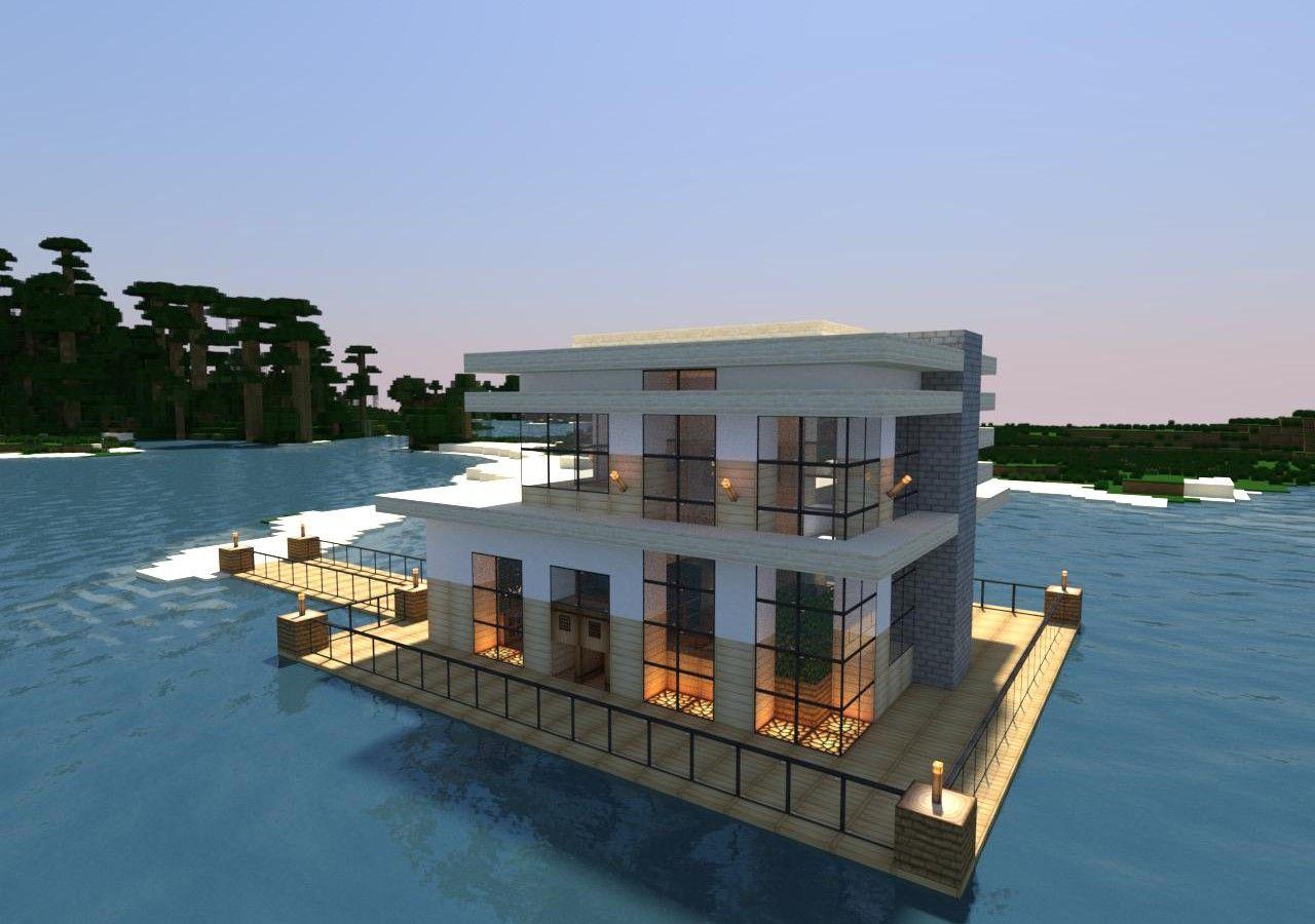 Minecraft modern lake house cool ideas beach blueprints also pinterest idei rh ro