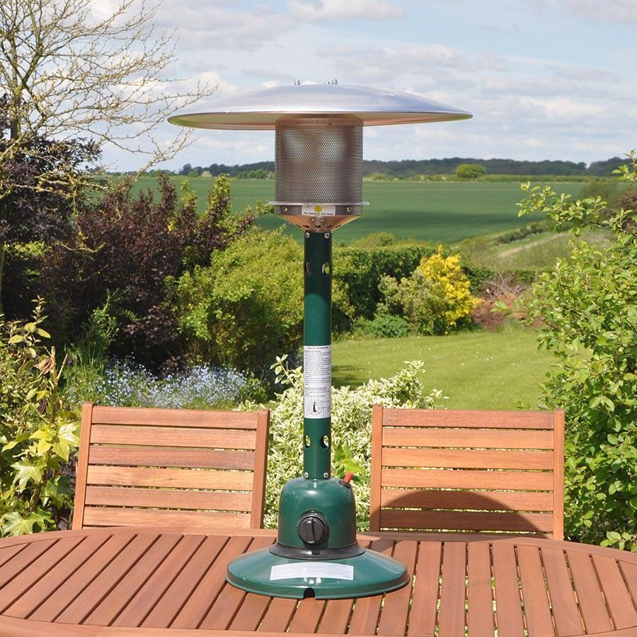 Gas Table Top Patio Heater Green Compact Size Stable Base Lawn Garden Outdoor Outdoor Table Tops Tabletop Patio Heater Patio Heater