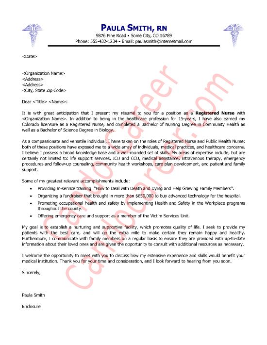 Nursing Cover Letter Examples | Nursing Cover Letter Samples ...