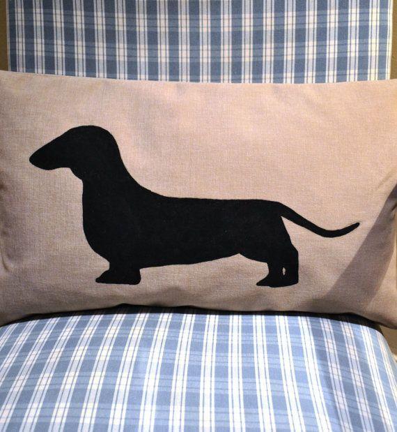 Dachshund Cushion Cover by bluebellsandbunting. Applique