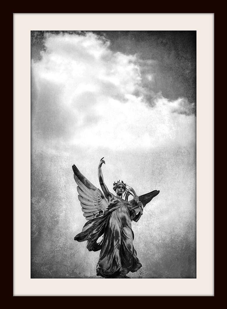 Angel wall art london print black and white london