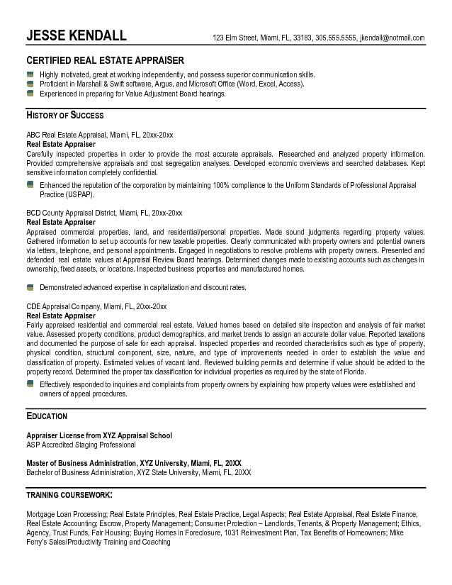 examples of real estate appraiser resume