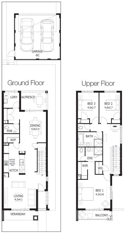 Floor plans for small twostorey 2 bedroom duplex in for Duplex plans australia