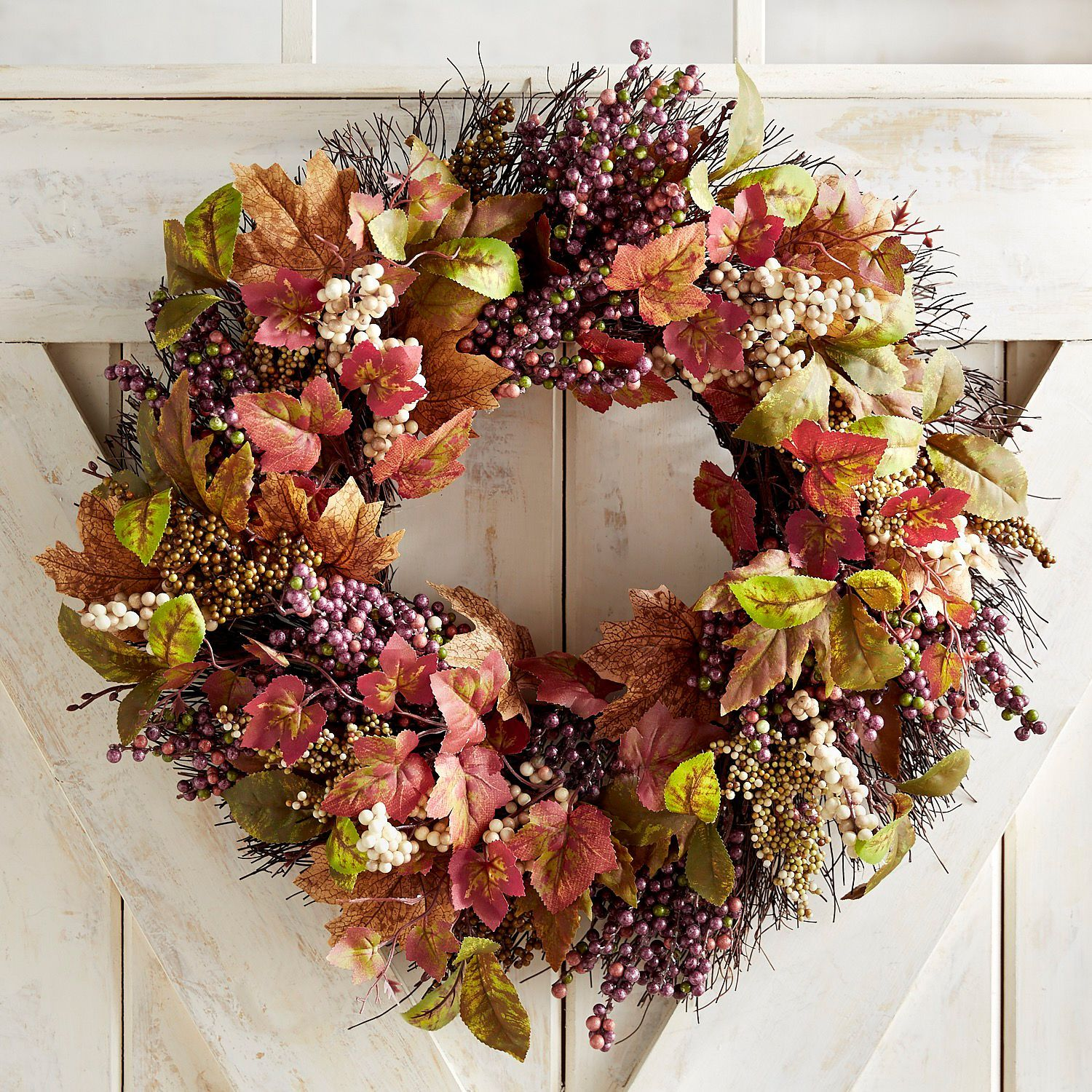 Faux Purple Berry 20 Wreath Pier 1 Imports Fall Thanksgiving Decor Fall Wreaths Pottery Barn Fall