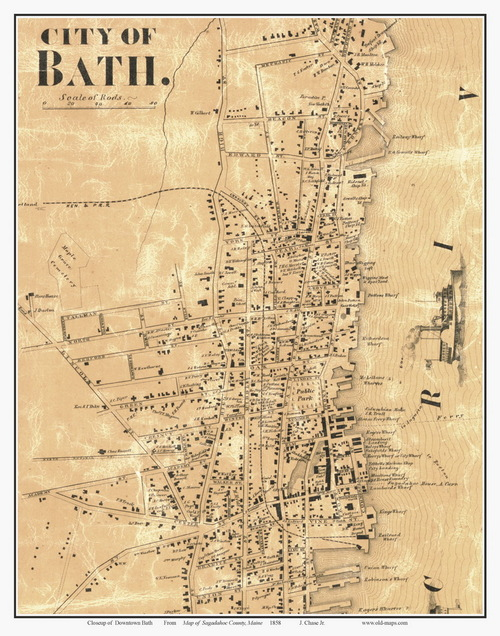 map of bath maine City Of Bath Downtown Maine 1858 Old Town Map Custom Print map of bath maine
