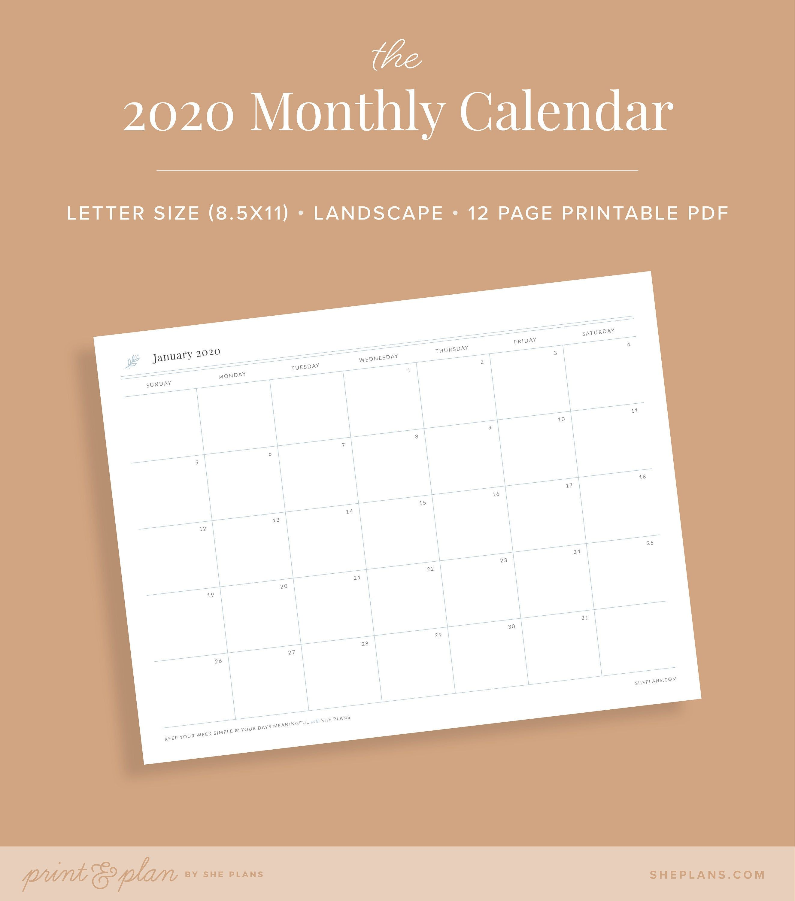 Monthly Printable Calendar For Project Planning
