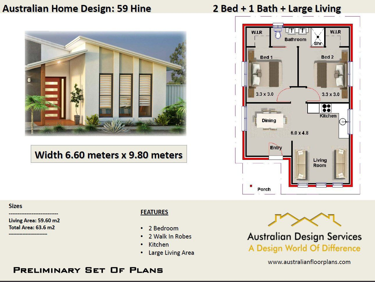 59 Hine 2 Bed House Plan 63 6 M2 Preliminary House Plan Set 4 Sale Beach House Plans House Plans Australia House Plans