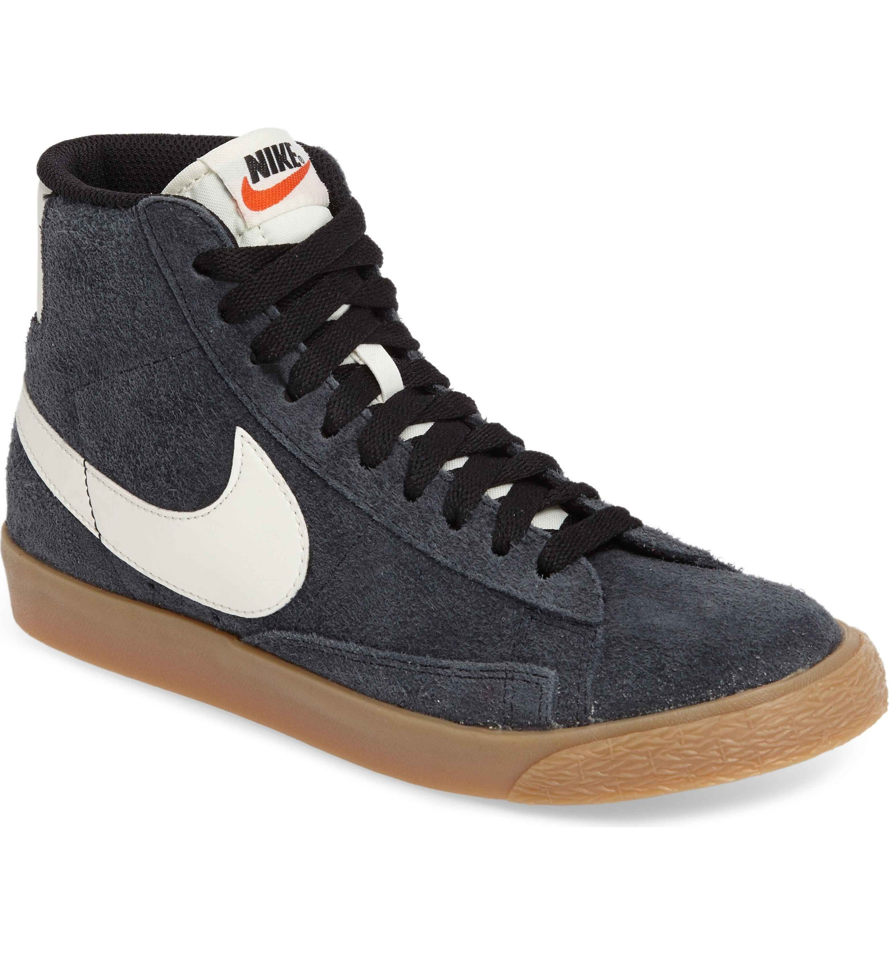 buy online b1cd1 a4d92  Nike  Blazer  Vintage High Top Basketball Sneaker (Women) in Black Sail Gum  Yellow Sail,  100