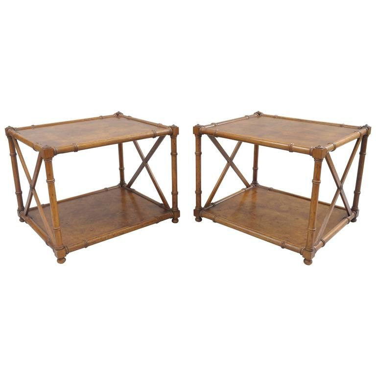 Pair Of Burl Wood Faux Bamboo Low End Tables Drexel Heritage Grand