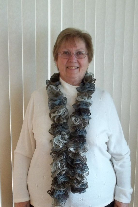Knit frilly Lacy Scarf in Blues to Greys to by TheNeedleHouse, $20.00