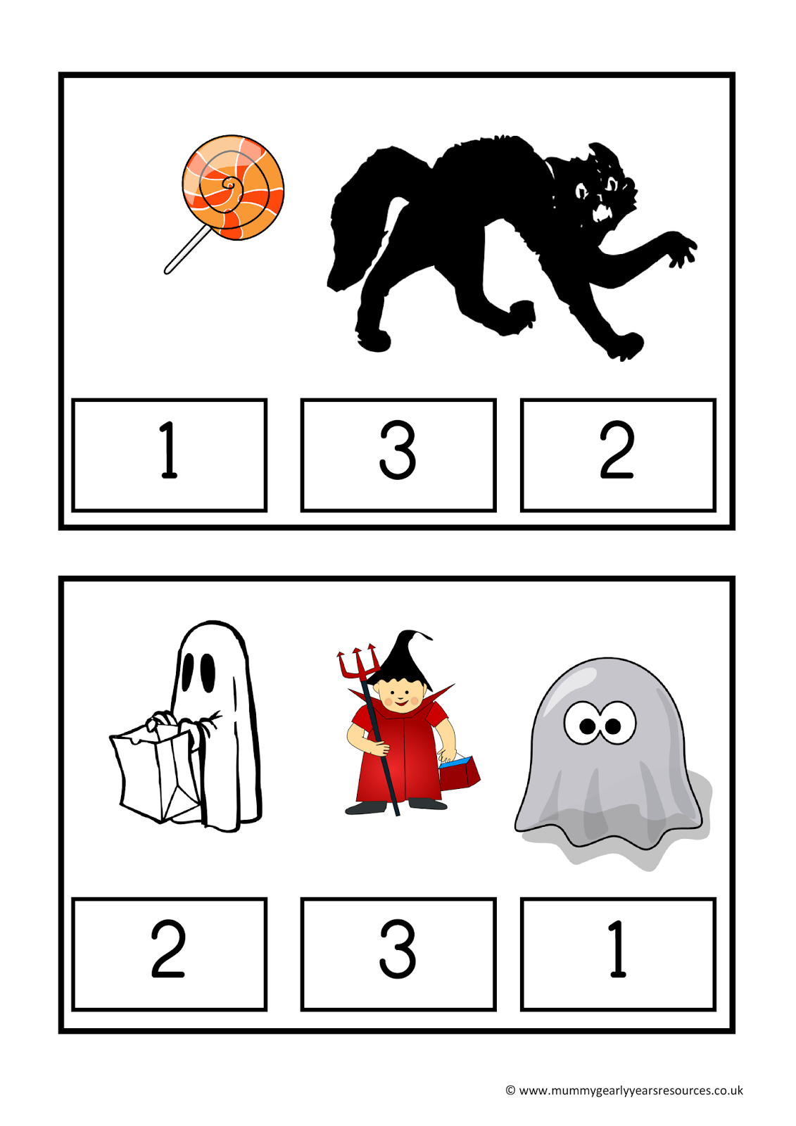 Mummy G early years resources: Halloween count and clip | KBN ...