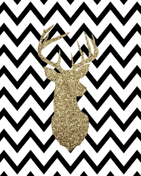 Glitter deer silhouette with chevron art print phone - Browning deer cell phone wallpaper ...