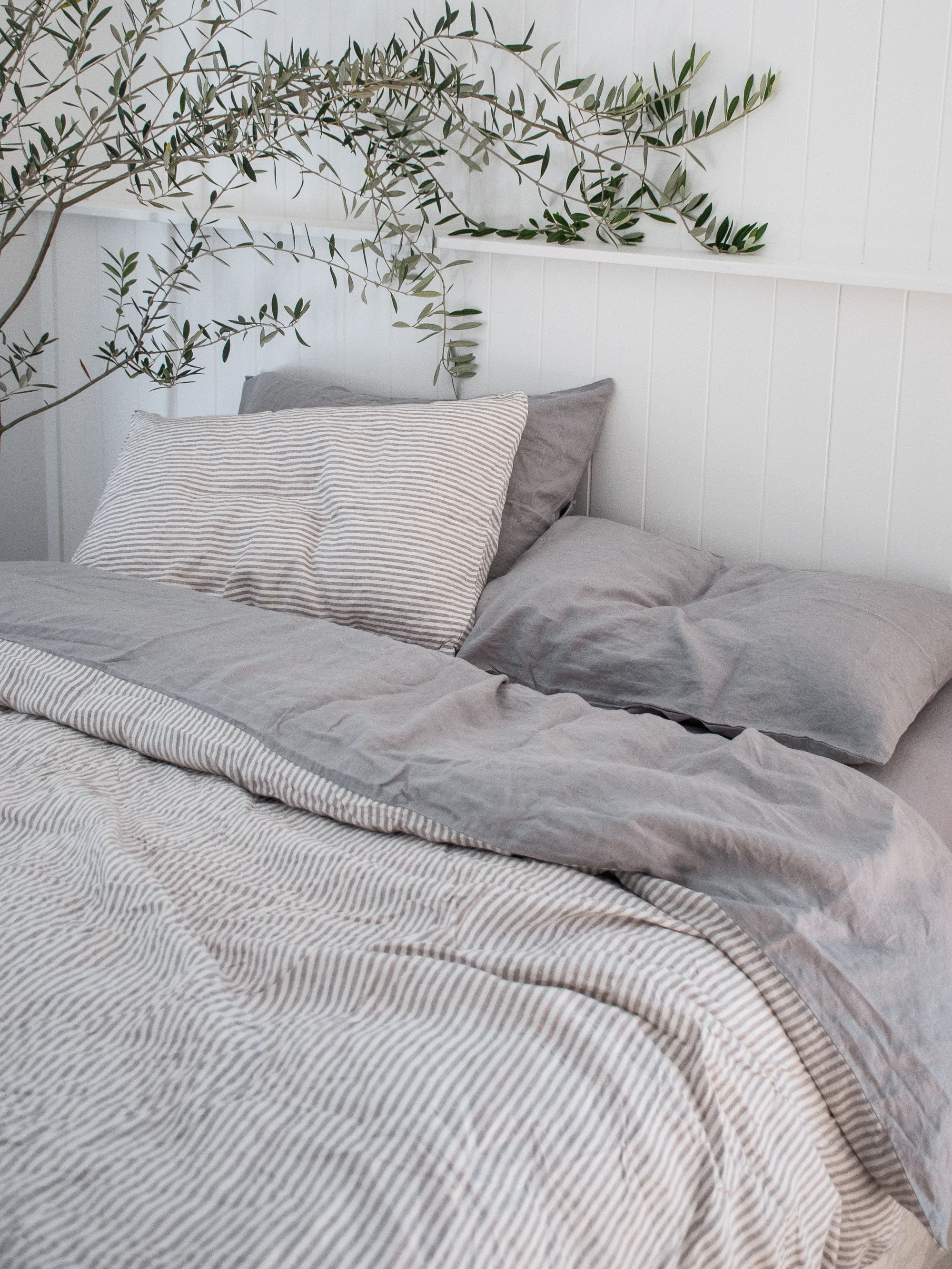 French Linen Bedding In Soft Grey Soft Grey Stripe Beautiful Home Decor Aesthetic Design Bedroom Styling Aesthetic Bedroom Grey Bed Sheets Bed Sheets